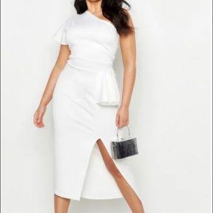 One Shoulder Asymmetric Midi Dress